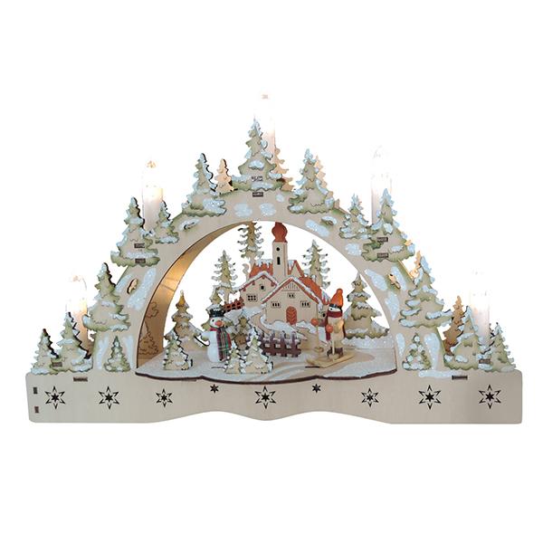 17365 Новогодний сувенир из дерева, светильник 220