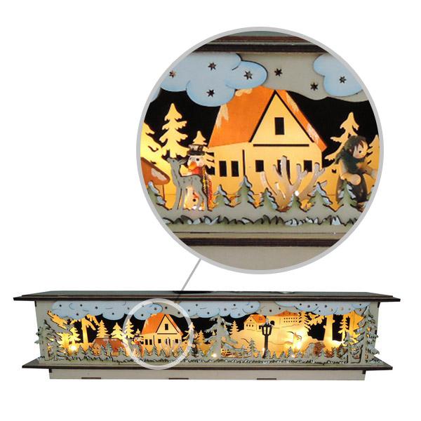7346  Новогодний сувенир из дерева, светильник 220