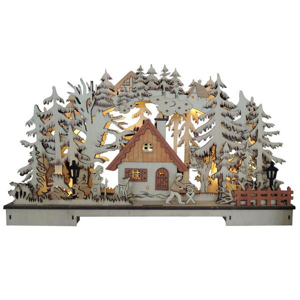 17672 Новогодний сувенир из дерева, светильник 220