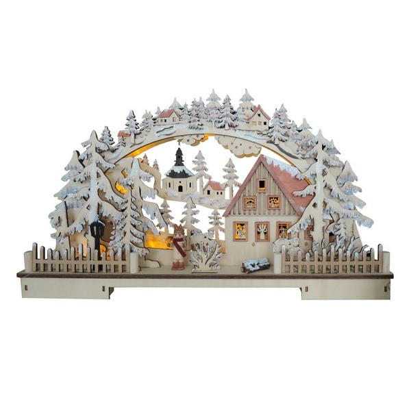 17671 Новогодний сувенир из дерева, светильник 220