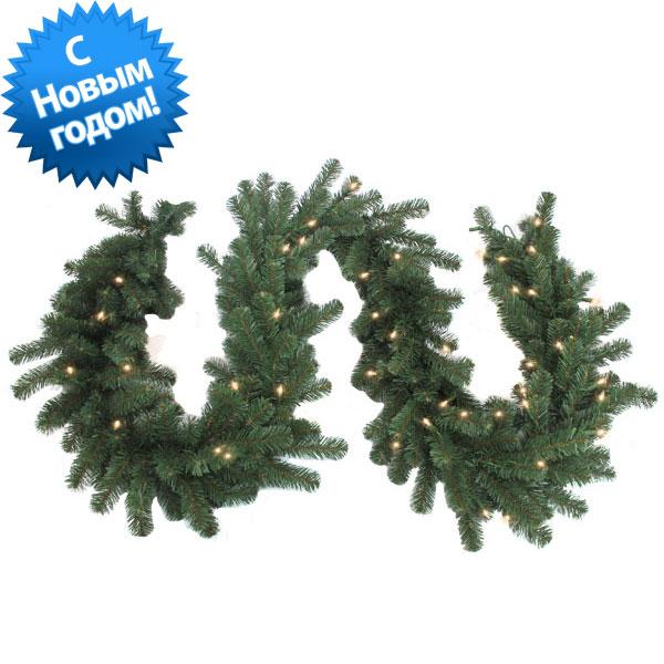 3407414/100G - Гирлянда хвойная зелёная с огнями 1