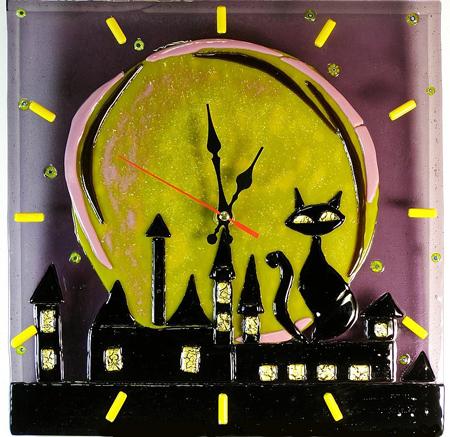 Часы: витраж, фьюзинг, роспись