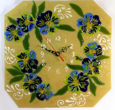 Часы декоративные - Анютины глазки