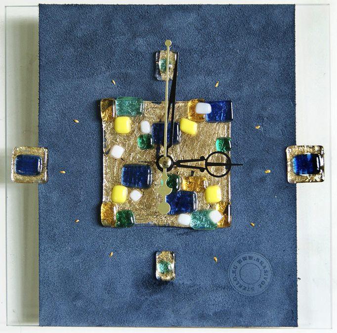 Часы - Кубизм синий